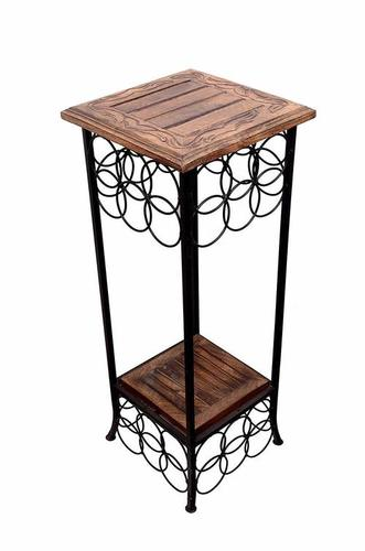 Wrought Iron End Table (Brown, 11x11x31 inch)