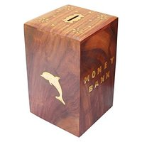 Handcrafted Antique Cuboid Wooden Piggy Bank (5 Inches)