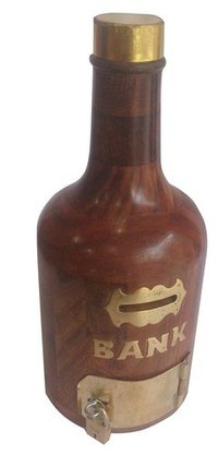 Handcrafted Antique Finish Bottle Wooden Piggy Bank (5 Inches, Brown)