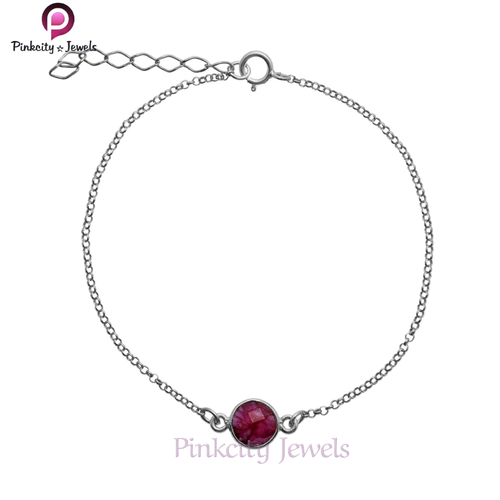 Beautiful Ruby Faceted 925 Silver Bracelet