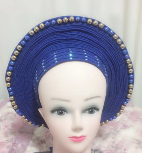 New Design Auto Gele Headtie African Asooke Nigeria Wedding Gele