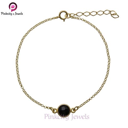Natural Black Onyx 925 Silver Bracelets