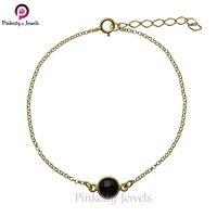 Natural Black Onyx Faceted 925 Silver Bracelets