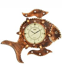 Brown Fish Wooden Clock