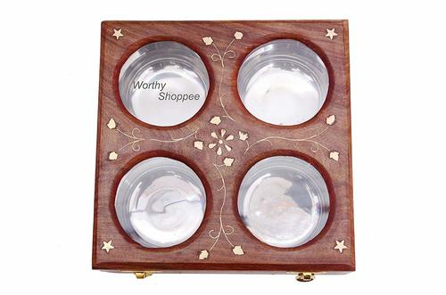 Handmade Wooden 4 Bowls Dry Fruit/Spices Box