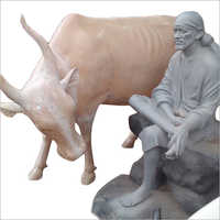 FRP Sai Baba with Cow Statue