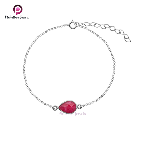 Ruby Faceted 925 Silver Bracelet