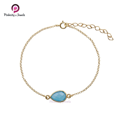 Blue Chalcedony 925 Silver Bracelets