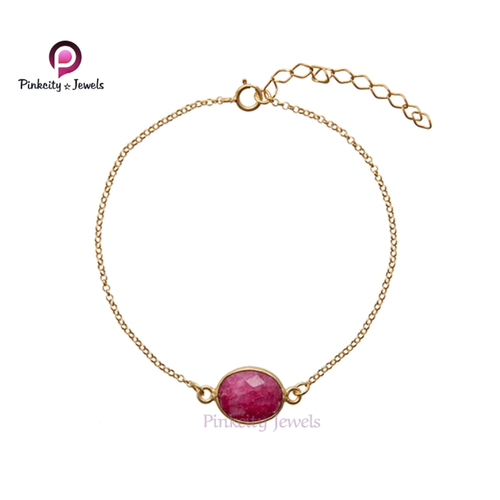 Beautiful Ruby Faceted 925 Silver Bracelets