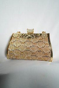 golden with colourful Embellishments bag