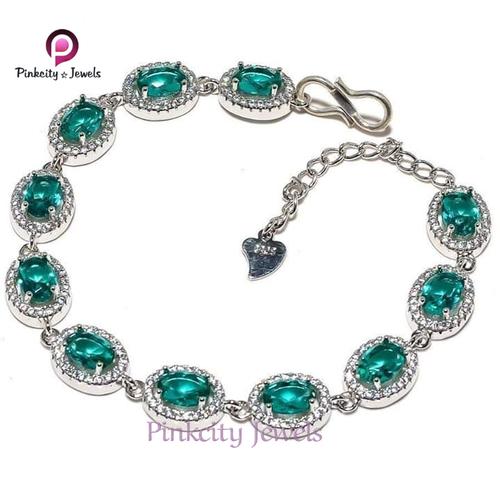 Green Created White CZ 925 Silver Bracelets