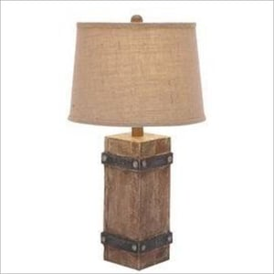 Drum Shade Wooden Table Lamp