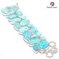 Natural Larimar Gemstone 925 Silver Bracelets