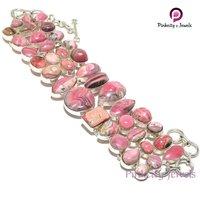 Natural Rhodochrosite 925 Silver Bracelets