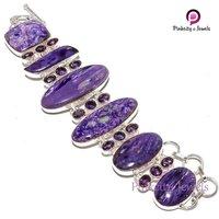 Natural Charolite & Amethyst Gemstone 925 Silver Bracelets