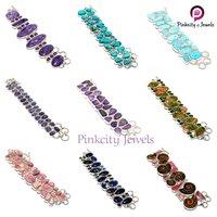 Natural Charolite & Amethyst Silver Bracelets