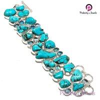 Natural Turquoise Gemstone 925 Silver Bracelets