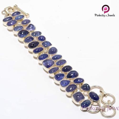 Natural Tanzanite Cabochon 925 Silver Bracelets