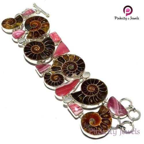 Natural Ammonite and Rhodochrosite 925 Silver Bracelets