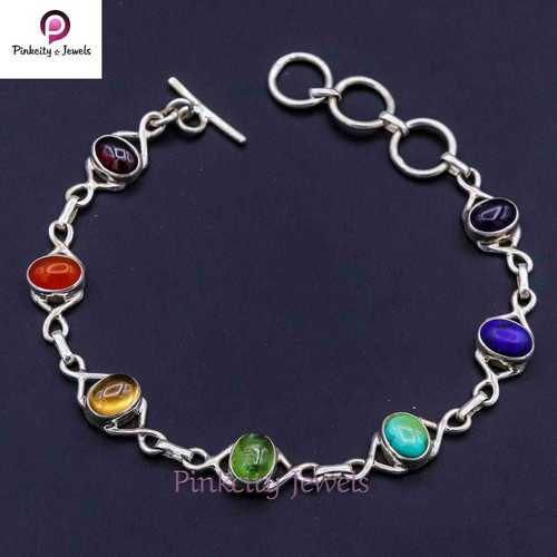Natural Multi Gemstone 925 Silver Bracelets