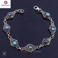 Natural Labradorite Cabochon Gemstone 925 Silver Bracelets
