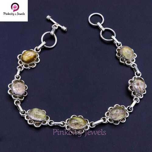 Natural Golden Rutile 925 Silver Bracelets
