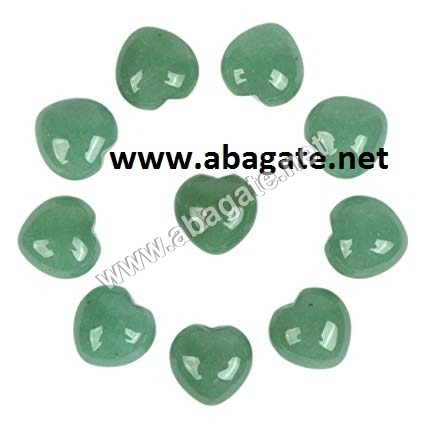 Green Aventurian Puffy Hearts