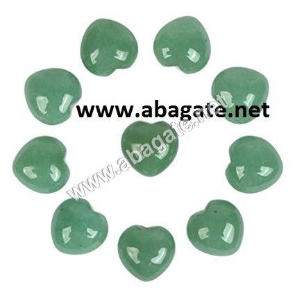 Green Aventurian Puffy Hearts