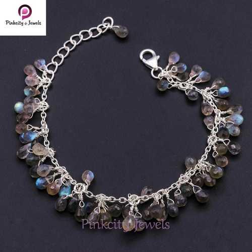 Natural Labradorite Drop 925 Silver Bracelets