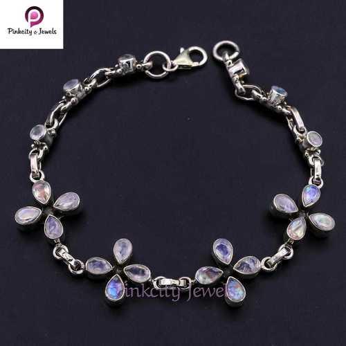 Natural Rainbow Moonstone 925 Silver Bracelets