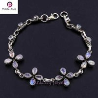 Natural Rainbow Moonstone 925 Silver Bracelets