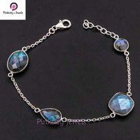 Natural Labradorite Faceted 925 Silver Bracelets