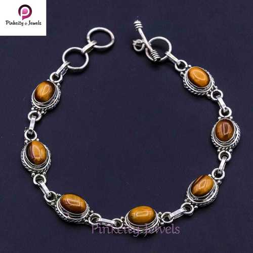 Natural Tiger Eye  925 Silver Bracelets