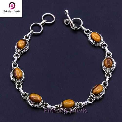 Natural Tiger Eye  925 Silver Bracelets