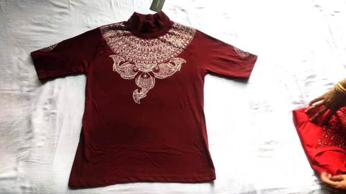 Solid Women High Neck Maroon T-shirt  Hand Painted