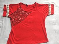 Solid Women Round Neck Red T-shirt Mithila Painted