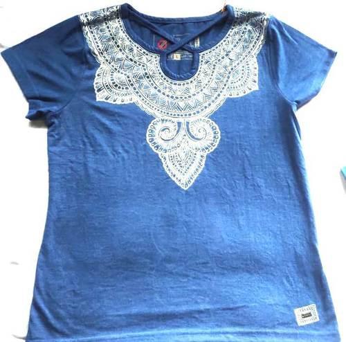 Solid Women V-neck Blue T-shirt Mithila Painted