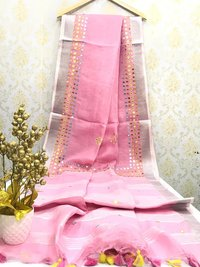 Linen Mirror Work Sarees