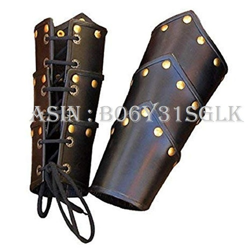 Leather Swordsman Vambraces - Arm Guards One Size - Black