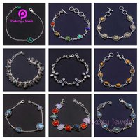 Beautiful Faceted Ruby 925 Silver Bracelets