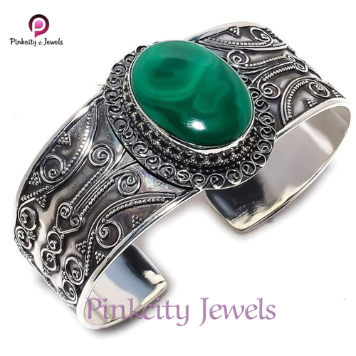 Natural Malachite Gemstone 925 Silver Bangle
