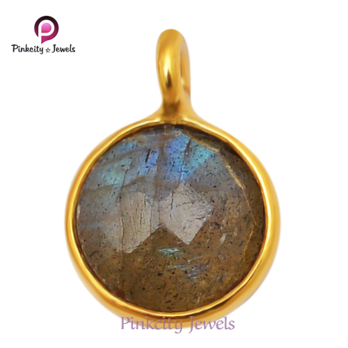 Natural Labradorite Faceted 925 Silver Pendent