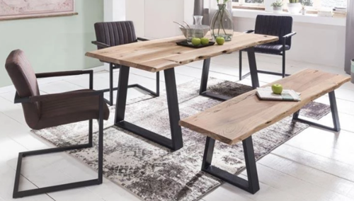 Wooden dining table iron mix Criston