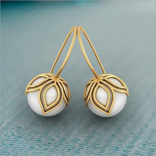 Ladies Gold Pearl Stud Earrings