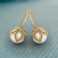 Ladies Gold Pearl Stud Earrings