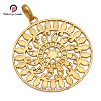 Beautiful Gold Plated Plain 925 Silver Pendant
