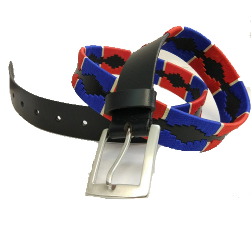 Red white and blue leather weaved polo belts.