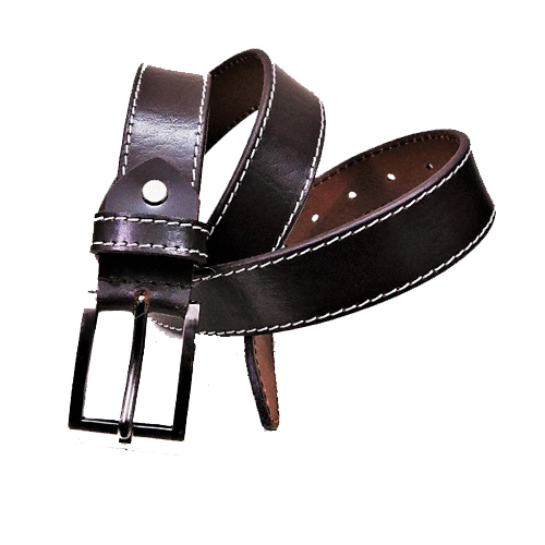 Coffee Color Stitched Leather Belt For Men