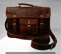 Grain Leather Satchel Bag with laptop case