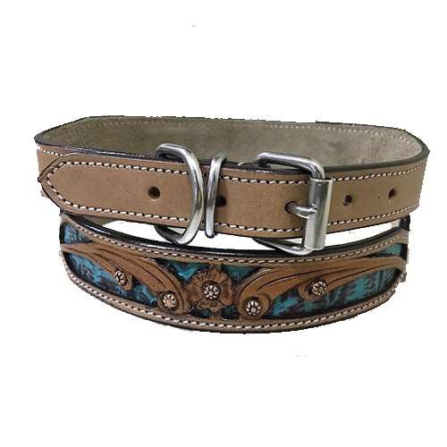 Italian Veg Leather Engraved Handcrafted Turquoise, Black and Natural Leather Colour Dog Collar